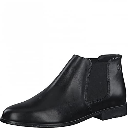Tamaris Damen Stiefeletten, Frauen Chelsea Boots,uebergangsstiefel,Schlupfstiefel,flach,Boots,Stiefel,Bootee,Booties,halbstiefel,Black,40 EU / 6.5 UK