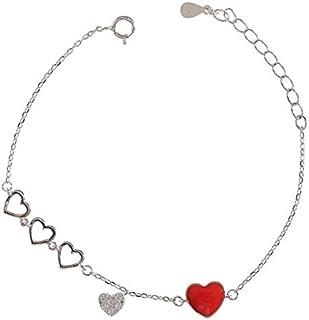 Red Heart Zircon Bracelet for Women