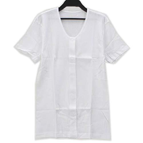 【婦人用】前開き シャツ ≪ 3分袖 ワンタッチテープ式 ≫ (1枚) 介護用に! レディース 女性用 婦人用 介護 肌着 (M, 白)