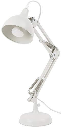BRUBAKER Klassische Metall Schreibtischlampe Leselampe mit höhenverstellbarem Gelenk-Arm Weiß