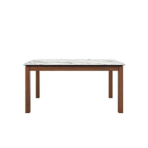 Domesis Rectangular Smart Top Dining Table in Gray Marble and Cherry
