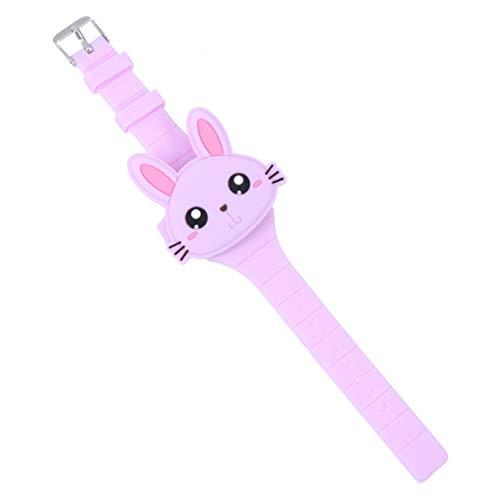 Hemobllo orologio da polso in silicone a forma di coniglio orologio da polso a conchiglia orologio digitale per bambini ragazze ragazzi (viola)
