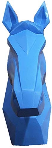 Cabeza De Caballo Escultura Cabeza De Caballo Colgante De Pared Trofeo Estatua De Pared Geometría Cabeza De Caballo Artesanía De Resina -Azul