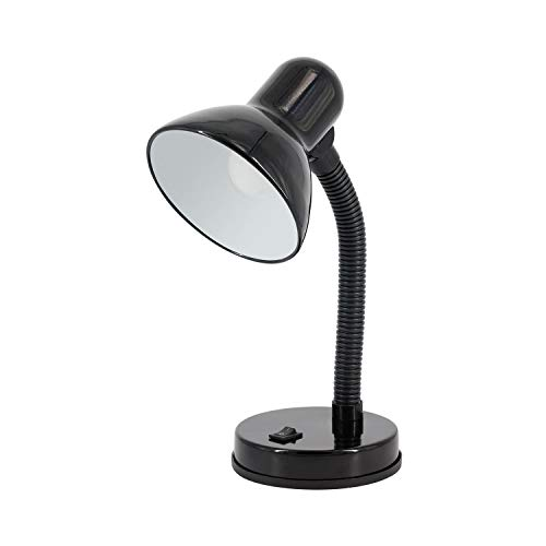 Lámpara Flexo Led Escritorio Negra Orientable | 7hSevenOn | Compatible con Bombillas E27 | Lámpara Sobremesa de Estudio o Trabajo | Lámpara de Lectura | Certificación CE y Rohs