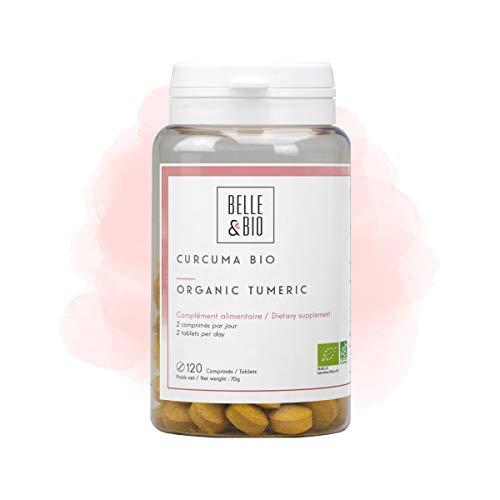 Belle&Bio - Curcuma Bio & Pipérine (Poivre Noir) - 120 comprimés - 300 mg/comprimé - Articulation - Certifié Bio par Ecocert - Fabriqué en France