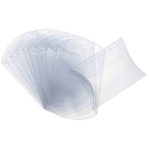 ISKYBOB 50 Piezas Cajas con Forma de Almohadas de Plástico, Transparente Mini Regalo, Embalaje de Caramelos para Fiestas