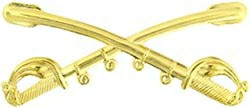 US Army Cavalry Crossed Saber Hat Pin (2 1/4') Gold