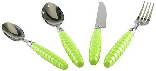 Miakasa Set Posate, PVC, Acciaio, Verde Lime, 24 Pezzi