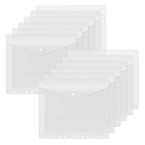 Dokumententasche A4, Dokumentenmappe A4 Zum Abheften, Dokumententasche A4 mit Visitenkartentasche Klettverschluss für Dokument Organisieren mit Lochrand und Etikettentasche, 20 Stück