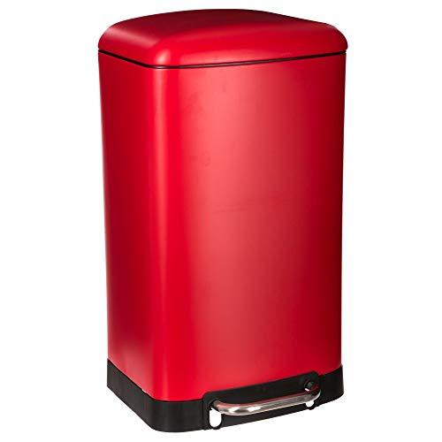 Poubelle métal 30L à pédale et silencieuse - Rouge