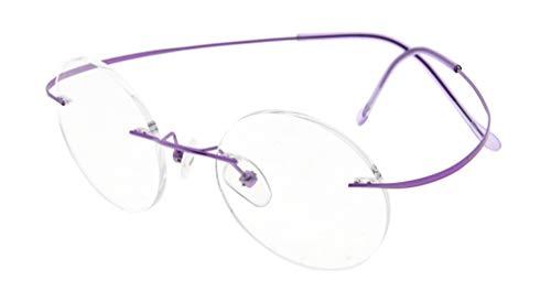 Eyekepper Titan Randlose Brillen Runde 48mm Kreis Optische Brillen Violett