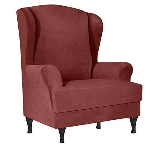 SINKITA Velvet Wingback Chair Slipcover Plush,Stretch Armchair Chair Spandex Wing Chair Covers Furniture Protector Anti-Slip Anti Scratch-Dark Brown-2 Piece