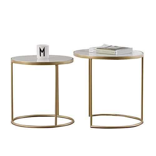 N/Z Living Equipment Table Basse gigogne Lot de 2 Tables d'appoint Rondes pour Salon Balcon Maison et Bureau Design élégant et Moderne Empilable et évolutif