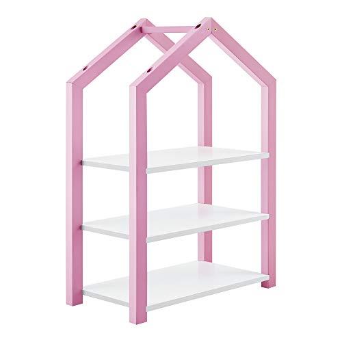 [en.casa] Kinderregal Haus-Optik 85 x 60 x 30 cm Spielzeugregal Standregal 3 Ablagen Kiefernholz MDF Rosa/Weiß