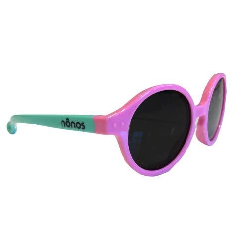 Nonos, gafas de sol de calidad para bebés. Totalmente flexibles y resistentes. Polarizadas, Protección 100% UV. Indicadas para niños y niñas de 1 a 3 años. (Rosa-Verde)