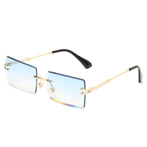 Long Keeper Gafas de sol rectangulares sin montura UV400 Gafas cuadradas sin marco de moda antideslumbrante para mujer (Azul degradado dorado)