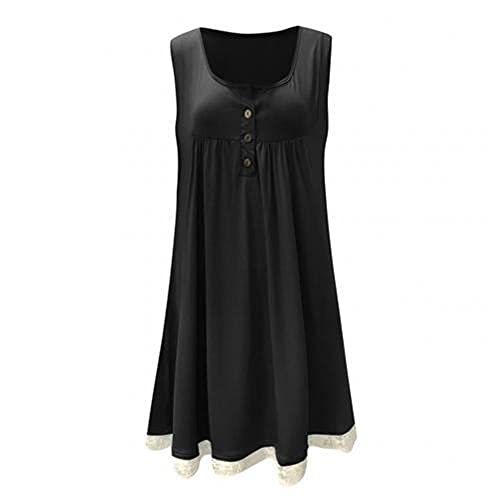 N\P Plus Size Solid Color Women Button O-Neck Sleeveless Lace Patchwork Black