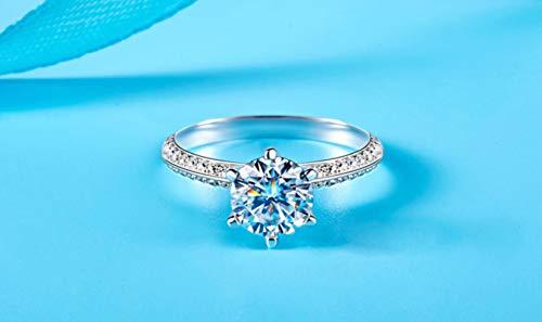 Anillos de compromiso de plata 925 con diamantes de laboratorio de lujo para novia, joyería fina, 10