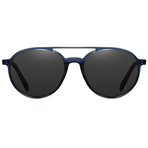 H HELMUT JUST Gafas De Sol Aviador Hombre Mujer Polarizadas Redondas Gris
