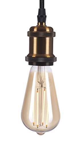 Crown - Portalámparas LED de bronce (E27, cable de tela, casquillo de techo, bombilla Edison regulable)