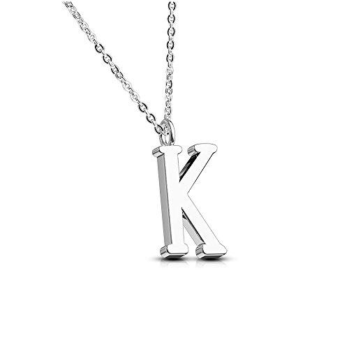 Bungsa Buchstabe K Halskette Silber - Buchstaben-ANHÄNGER K Kette - Alphabet Kette für Frauen & Männer - aus Edelstahl - Schmuck für Jungen & Mädchen