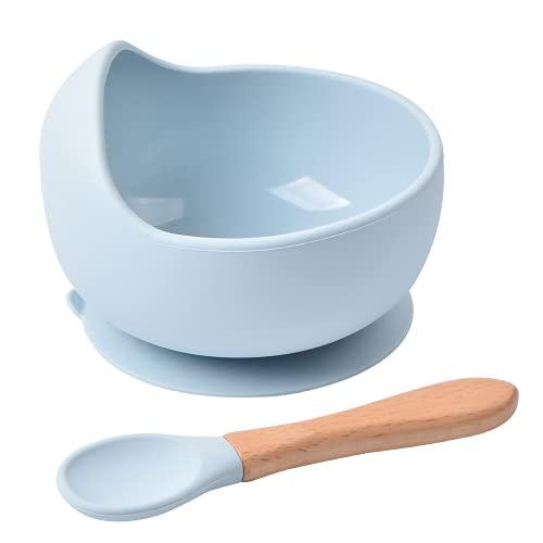 Sicore Kids Set de bowl de silicona y cuchara de bambú | Cuenco con base adherente a superficies no porosas | Bowl antivuelco BPA free ideal para BLW | Bol apto para microondas y lavavajillas (Azul)