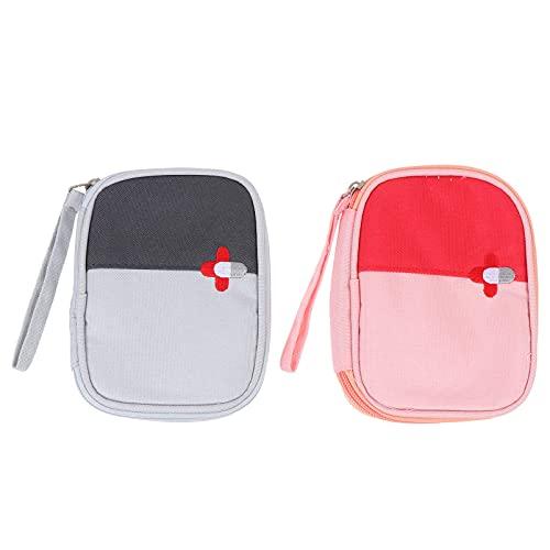 DOITOOL 2 bolsas de primeros auxilios portátiles pequeñas bolsas de medicina bolsas de emergencia vacías camping bolsa con cremallera para acampar al aire libre senderismo viajes