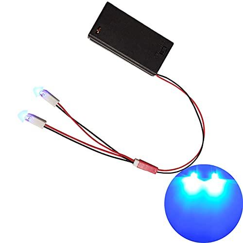 malyituk 2-LED Super brillante DIY Mini luz de noche con interruptor 3V Perlas de la lámpara fuente de luz Manual para Cosplay Casco DIY Tiras de luz Superhéroe (azul)
