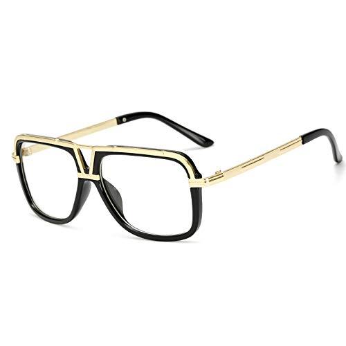 Gafas de sol Europa y los Estados Unidos. Gafas de sol clásicas para hombres. Gafas retro grandes. Gafas de sol clásicas. Montura de oro blanco.