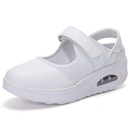 Sandalias para Mujer Malla Merceditas Plataforma Ligero Zapatillas Sneaker Mary Jane Casual Zapatos de Deporte Mocasines Negros Verano