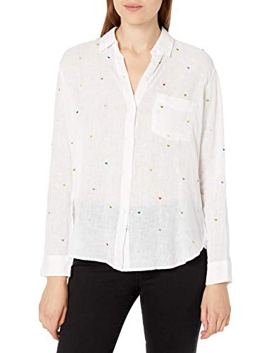 Rails Women's Long Sleeve, White Embroidered Hearts, Extra Small