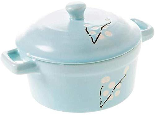 WANGQW Pote de cazuela de cerámica Antiadherente, Stockpo Cazuela de cerámica de cazuela de Terracota - Pote de cerámica para Uso en el hogar con una Tapa de Olla de Huevo al Vapor Impermeable