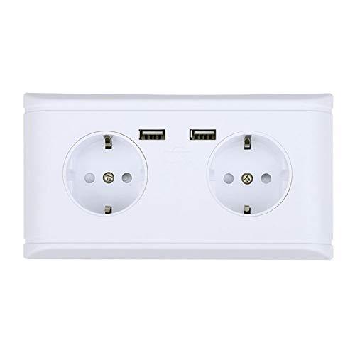 Fafeicy Toma de Corriente de Pared Multifuncional con Puerto USB para Carga de teléfono 250 V Interruptores Dobles para el hogar, Enchufe de la UE