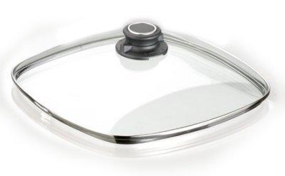 MaxxGoods Coperchio in vetro di sicurezza con anello in acciaio INOX e bottone sul coperchio, Acciaio INOX, Ø28x28cm