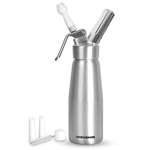 Galapar Sifón de Cocina Profesional, 500 ml Dispensador de Crema Batida de Acero Inoxidable para Crema montada Dispensador de espumas y cremas fría y Caliente