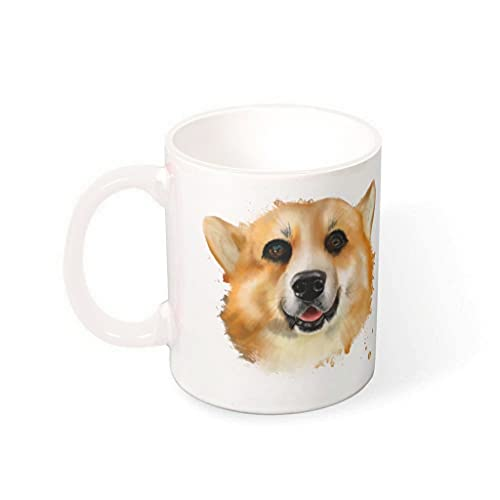 OwlOwlfan Tinta Welsh Corgi Taza de cerámica de color personalizado tazas de café taza con mango para cafetería bar para amigos de la familia blanco 330ml