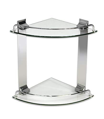 Vetrineinrete® Mensola angolare per doccia a 2 livelli ripiani in vetro con reggimensola in acciaio da muro fissaggio con viti portaoggetti a parete arredo bagno D97