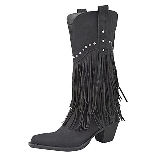 MeiLuSi Botas de vaquero con flecos para mujer, botas de vaquero altas con tachuelas, 1 Negro, 40.5 EU
