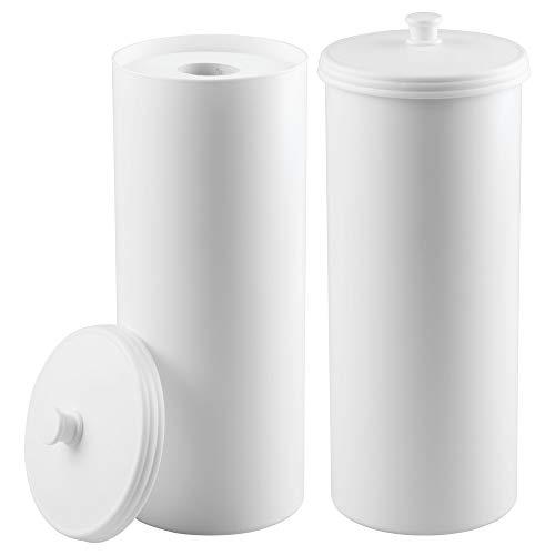 mDesign 2er-Set Toilettenpapierhalter – Klorollenhalter fürs Badezimmer – Papierrollenhalter freistehend – weiß