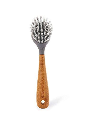 Full Circle Tenacious C Cast Iron Brush and Scraper, Bamboo Handle, Grey