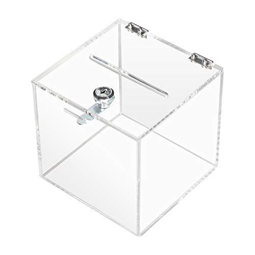 HMF 46919 Acryl Spendenbox mit Schloss | 15 x 15 x 15 cm | DIN A6 | Transparent