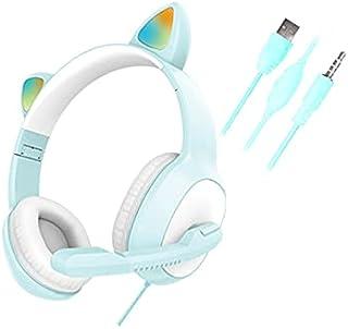 Gaming-Headset für Gilrs Jungen PC Stereo Gaming Kopfhörer USB 7.1 mit Mikrofon Katzenohren Deko LED-Licht für Laptop Wire...