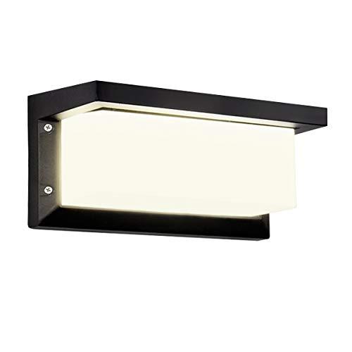 HAOFU Apliques de Pared Lámpara Moderna 10W, LED, 1000Lúmenes,Aplique para exterior, 4000K blanco Neutra,impermeable IP65,Aluminio+Acrílico