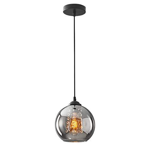 H.W.S Glas Pendelleuchte Vintage Kristall Pendellampe Modern Kugel Kronleuchter Design Kreative Hängeleuchte Höhenverstellbar Innen Dekoration Hängelampe Wohnzimmer Leuchte (Smoky gray, 1 flamming)