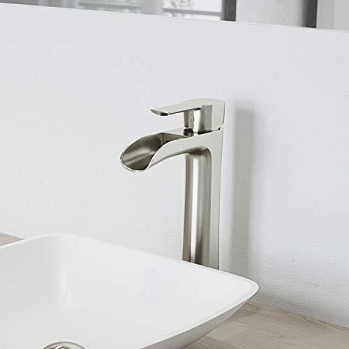 """VIGO VG03024BN 11"""" H Niko Brushed Nickel Single-Handle Single Hole Waterfall Vessel Deck-Mount WaterSense Bathroom Sink Faucet"""