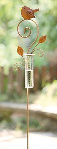 Gartenstecker aus Metall im Rost-Design, mit Glas-Regenmesser, Niederschlagsmessung, Deko-Stecker