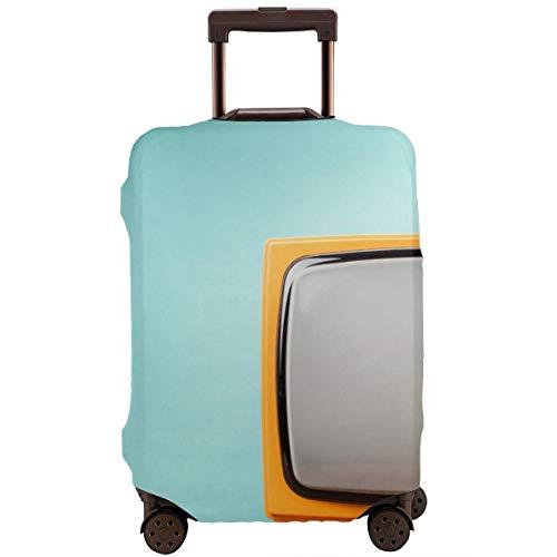 Reiskoffer beschermer, retro oude oranje TV ontvanger op tafel voorzijde verloop aquamarijn muur achtergrond vintage stijl gefilterd foto, koffer cover wasbare bagage cover
