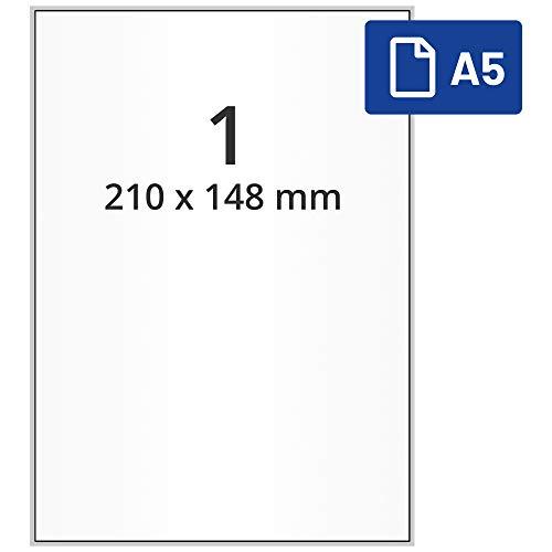 Labelident DIN A5 Etiketten - 210 x 148 mm - 1000 Papieretiketten auf 1000 DIN A5 Bögen, matt, DHL Versandetiketten selbstklebend