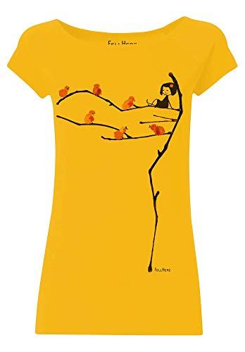FellHerz Spatzerl - Camiseta para mujer, bio, 100% algodón orgánico, fabricado en condiciones justas, sostenible, vegano, ecológico, alternativo, natural, versátil, pájaros verde caqui M