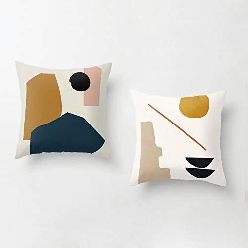 anaan Tofu Kissenbezug 2er Set Kissenhülle 45x45cm doppelseitig Samt Dekokissen Sofakissen Zierkissen Design skandinavisch Motiv geometrische Muster